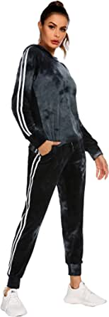 Hotouch Tracksuit Sets Womens 2 Piece Sweatsuits Velour Pullover Hoodie & Sweatpants Jogging Suits Outfits
