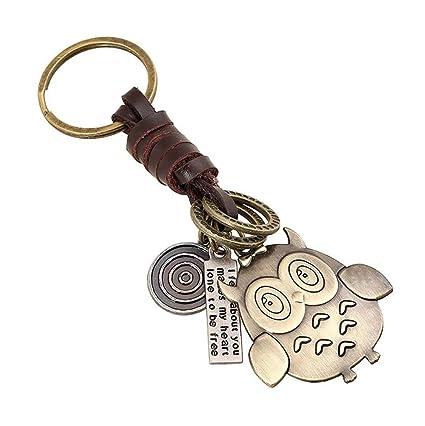 Amazon.com   Creative Cute Detachable DIY Handmade Owl Retro Alloy Weave  Genuine Leather Car Key Chain Keychain for Women Men   Office Products 64c4603af