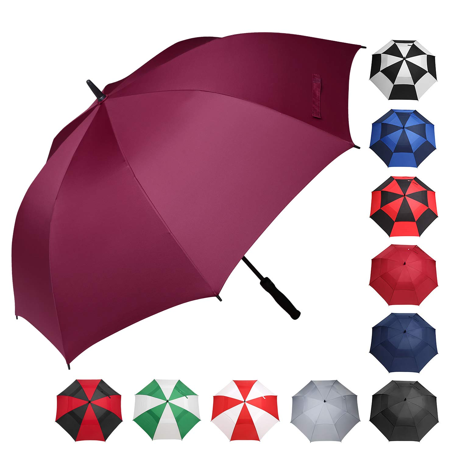 BAGAIL Golf Umbrella 68/62/58 Inch Large Oversize Windproof Waterproof Automatic Open Stick Umbrellas for Men and Women(Burgundy,62 inch) by BAGAIL