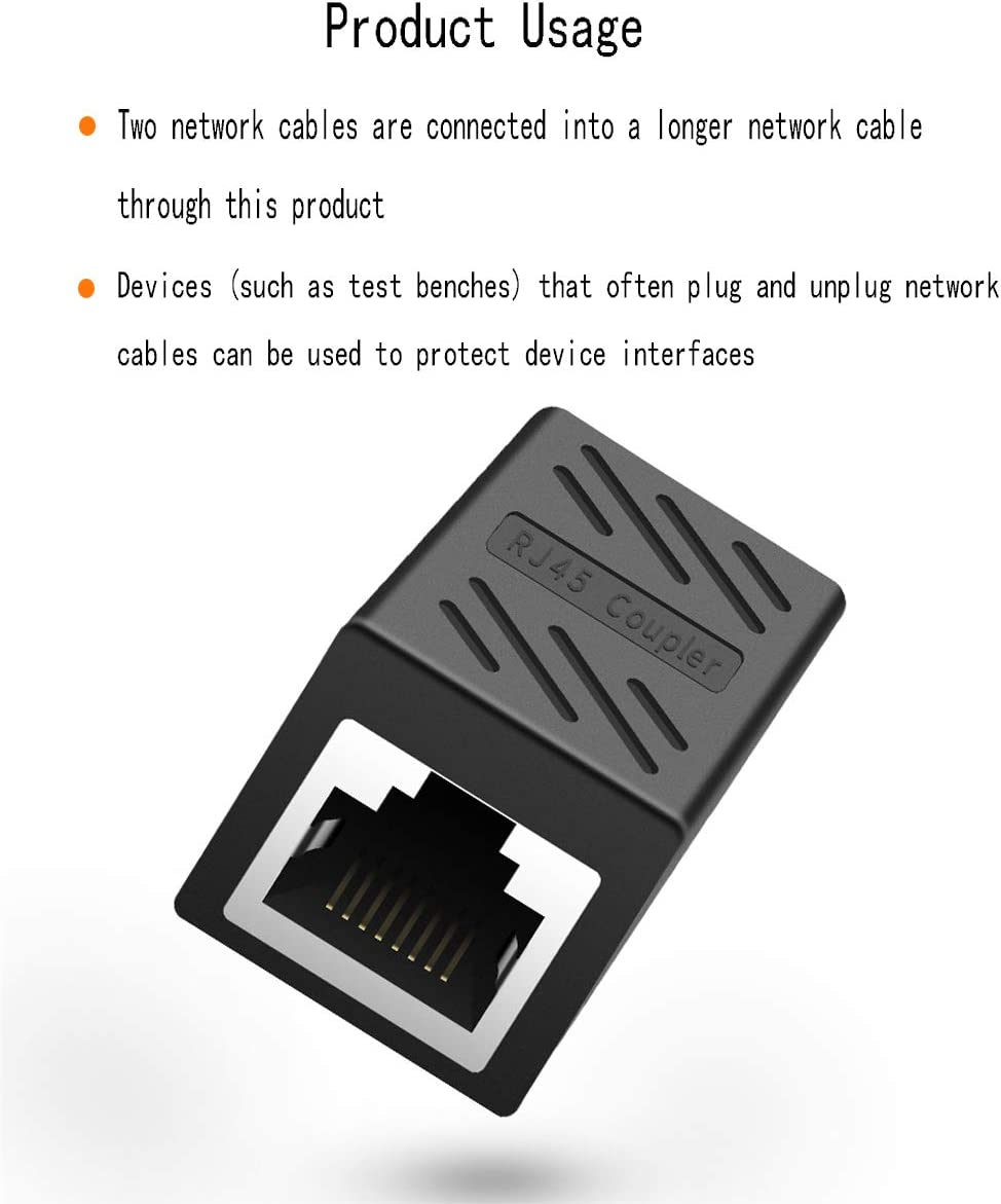 RJ45 Coupler Ethernet Extender Connecter 2Pack in Line Couple Cat7 Cat6 Ethernet//Network Cable Connector Ethernet Connector Inline Compatable Router and More Used to Secure Device Interfaces Black