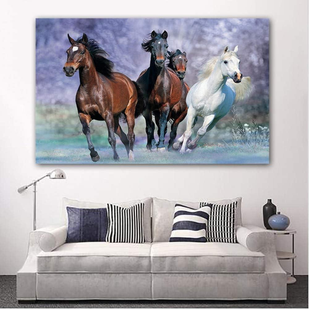 Cuatro caballos corriendo animales cuadros lienzo pintura cartel mural sala de estar decoración moderna sin marco A 40x70cm
