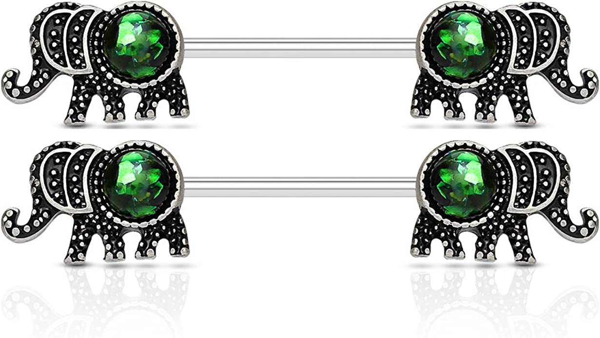 Inspiration Dezigns Pair of 14G Clear Double Prong Gem Nipple Barbell Ring