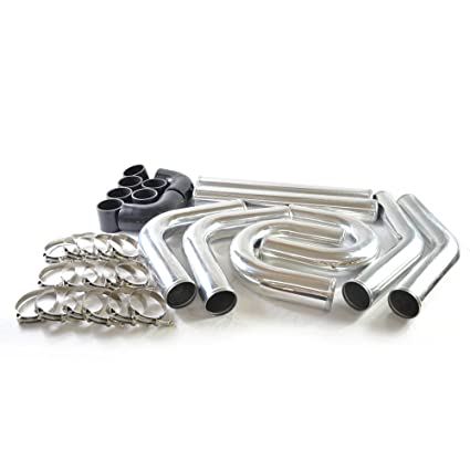 """Million Parts 3"""" 76mm Polished Aluminum Turbo Intercooler Pipe+Elbow Hose+Clamps Kit"""