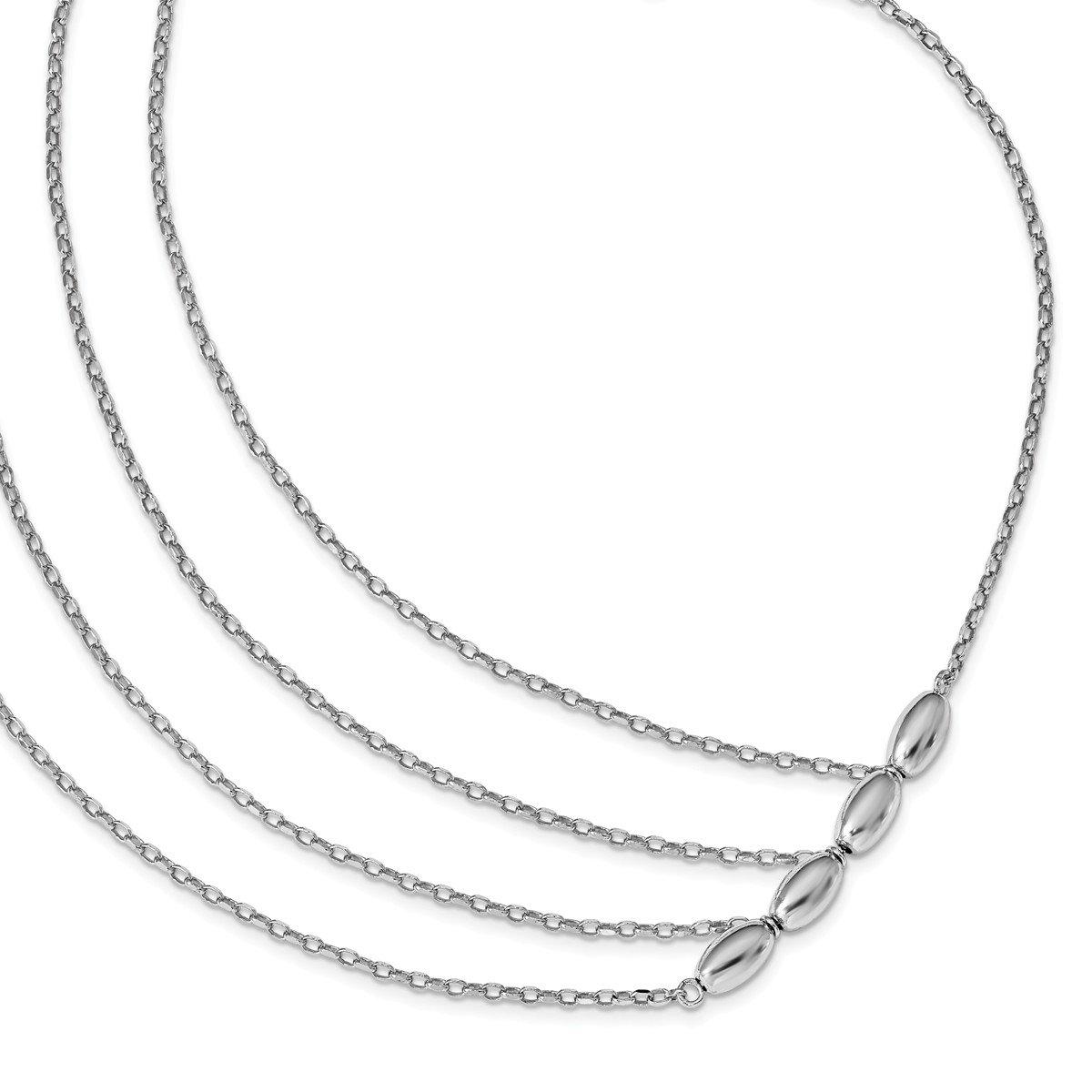 Leslie's Italian 925 Sterling Silver Polished 3 strand 17'' necklace