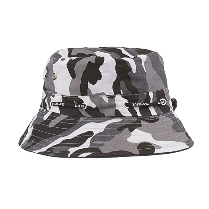 8a1d3072d81 Unisex Camouflage Bucket Hat Summer Sunscreen Foldable Boonie Hats  Adjustable Outdoors Climbing Fisherman Hat (Black