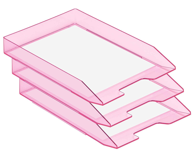 A4 Rosa Trasparente Acrimet Vaschetta Portacorrispondenza Impilabile Una Unit/à