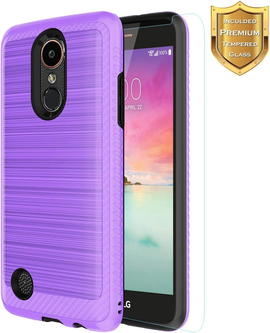 Case for LG K20 Plus/LG K20/LG K20 V K20V/LG Harmony/LG Grace LTE Phone Case with Tempered Glass Screen Protector Non-Slip Texture Slim for Boys Girls Purple