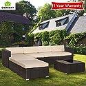 Diensday 5 Piece 5-7 Pieces Cushioned Outdoor Patio PE Rattan Wicker Sofa Sectional Furniture Set Lawn Backyard Furniture (7 Pieces, Dark Grey, Aluminum)