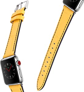 For Apple Watch Band, 42MM 44MM iWatch Band Genuine Leather Strap Stainless Metal Buckle for Apple Watch Series 4, Series 3, Series 2, Sport & Edition (Yellow and black)