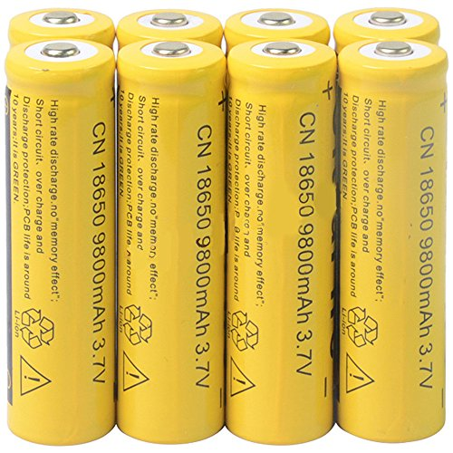 8pcs 18650 3.7V 9800mAh Li-ion High-Capacity Rechargeable Battery