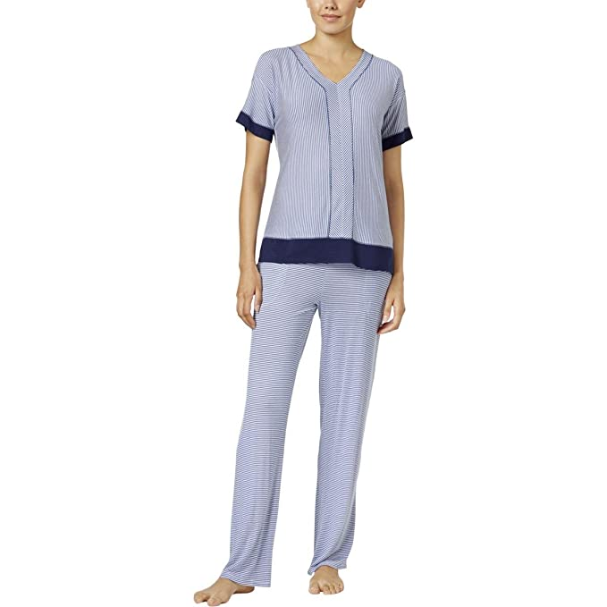 b6bbd087d4f0f4 Amazon.com: DKNY Womems Contrast-Trimmed Printed Pajama Top Blue ...