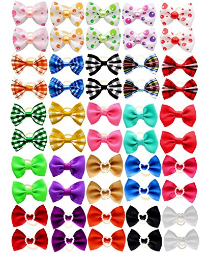 YOY 50pcs / 25 Pairs Adorable Grosgrain Ribbon Pet Dog Hair Bows with Rubber Bands - Puppy Topknot Cat Kitty Doggy Grooming Hair Accessories Bow Knots Headdress Flowers Set for Groomer
