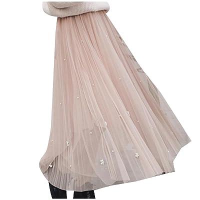 Abetteric Women Elegant Gauze Beaded High-Waisted Thin Umbrella Skirt