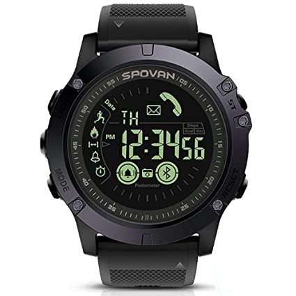 SPOVAN Mens Sports Bluetooth Smart Watch Water Resistant Pedometer Calorie Counter Distance for Android and iOS