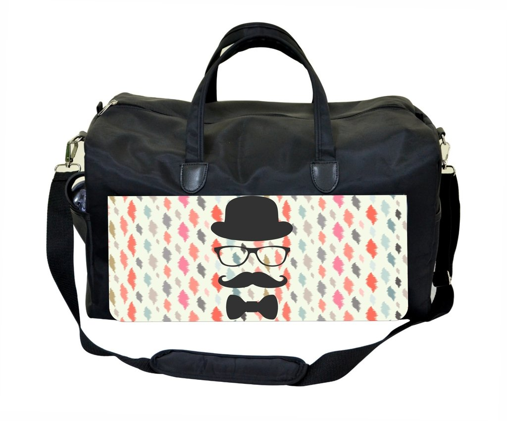 Hipster Glasses and Mustache on Modern Ikat Pattern Print Design Gym Bag