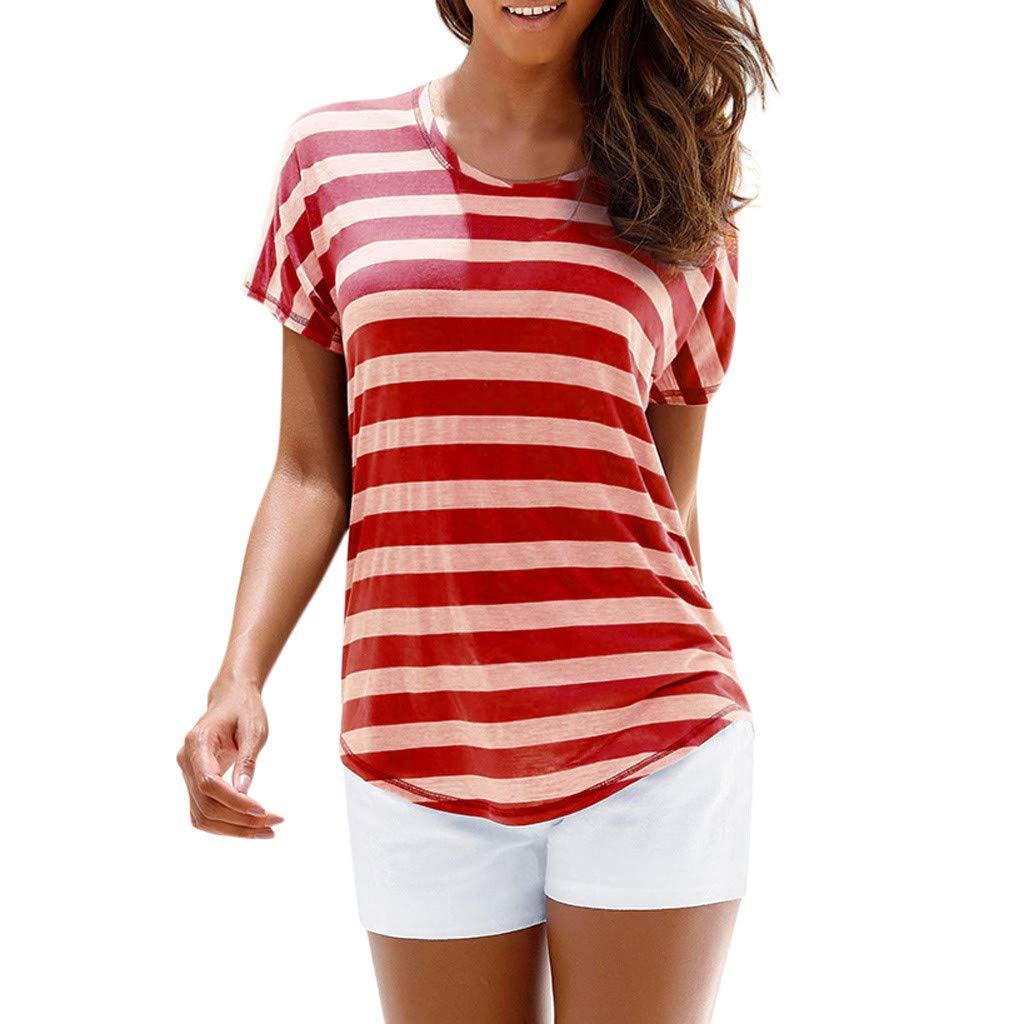 Funic Women Bohemian Casual O Neck Short Sleeve Striped Printed T Shirt Top Blouse