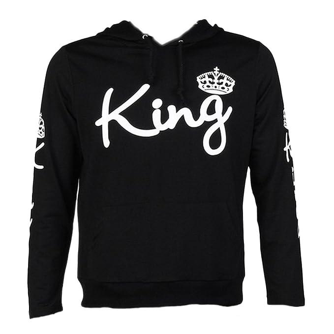 Tomwell Hombre Y Mujer Moda King Queen Impresión Sudaderas con Capucha Manga Larga Pullover Camisas Jersey Hoodies Parejas Tops F King Negro EU XL: ...