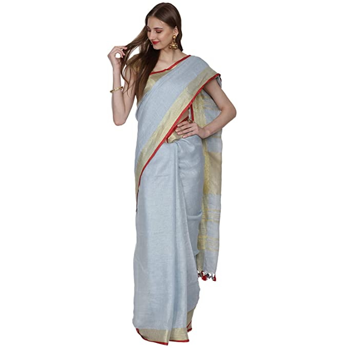cheap for sale low priced extremely unique Black Orange Women's Linen saree/Linen saree/saree with 2 Blouse Linen and  Designer