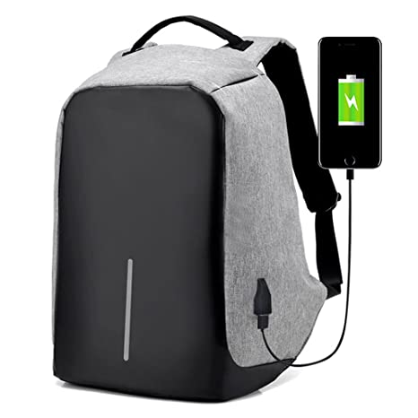 Mochila para portátil con USB puerto de carga, antirrobo resistente al agua ordenador mochila ligero