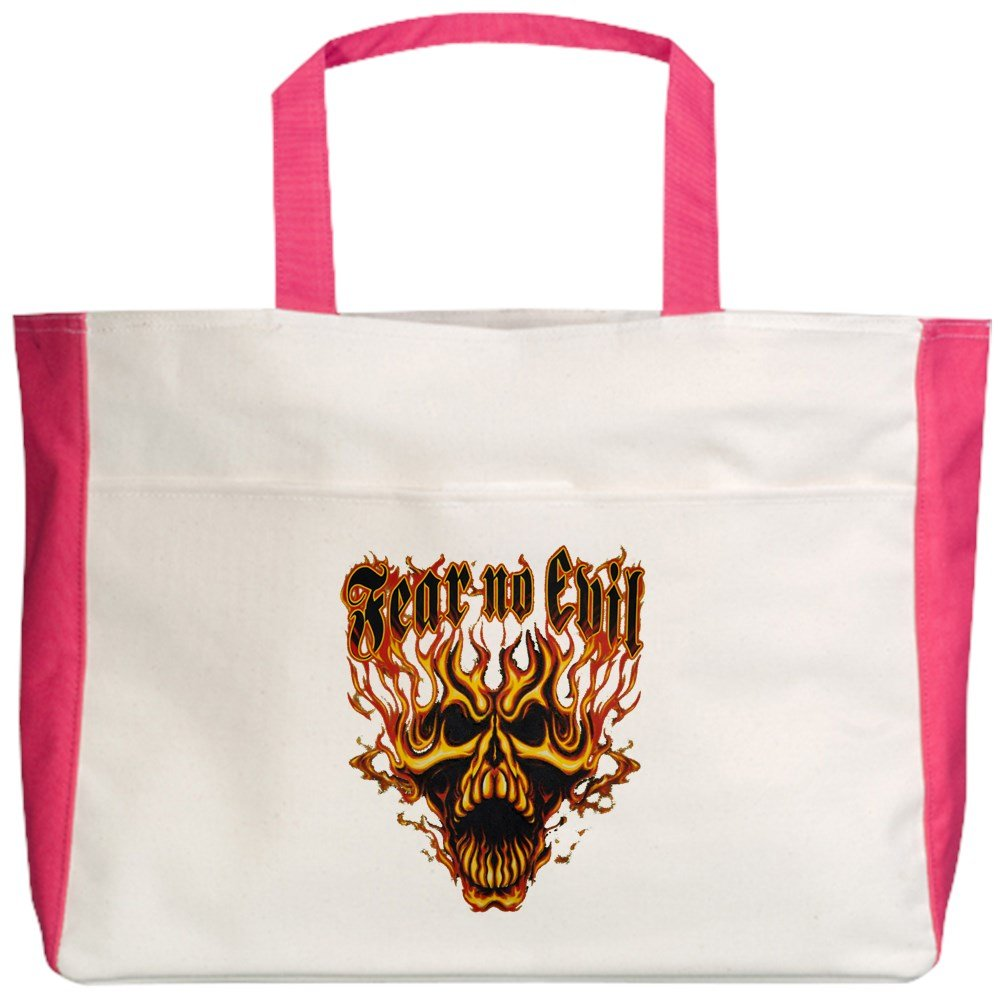 Royal Lion Beach Tote (2-Sided) Fear No Evil Flaming Skull - Fuchsia