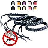 Kinven Mosquito Bug Repellent Faux Leather Bracelet Bands - DEET Free – Stylish Braiding, 2 packs (4 bracelets), (Color: Black)