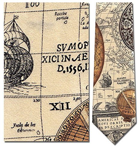 Mens 100% Silk Beige Nautical Antique Sundial Sun Dials Over Map Tie Necktie -