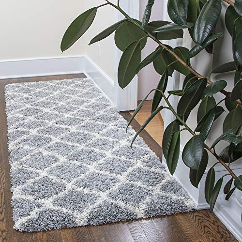 "Ottomanson Ultimate Shaggy Collection Moroccan Trellis Design Contemporary Hallway & Kitchen Shag Runner Rugs, Grey, 2'7""L X 8'0""W"