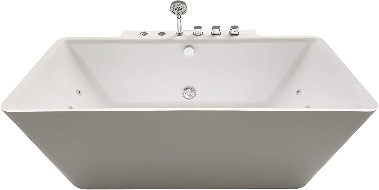 "ARIEL Adrian Whirlpool Bathtub in White | Deep Soaking Comfort | Hydro- Massage System 14 Whirlpool Jets & Adjustable Air Bubble Infusion | Center Drain | Handheld Shower | 68"" x 34.5"" x 25.75"" |"