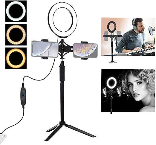 LED Ring Light Kit With Tripod Stand 3 Brightness Color Mode Levels,20 LED Beads YouTube Video//Photography Ring Light Portable Lightweight For Live Stream//Makeup USB Convert