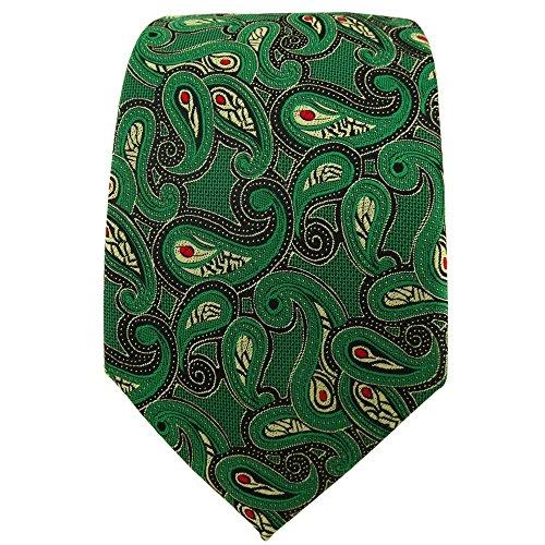 TigerTie Designer cravate en vert doré rouge noir Paisley à motifs