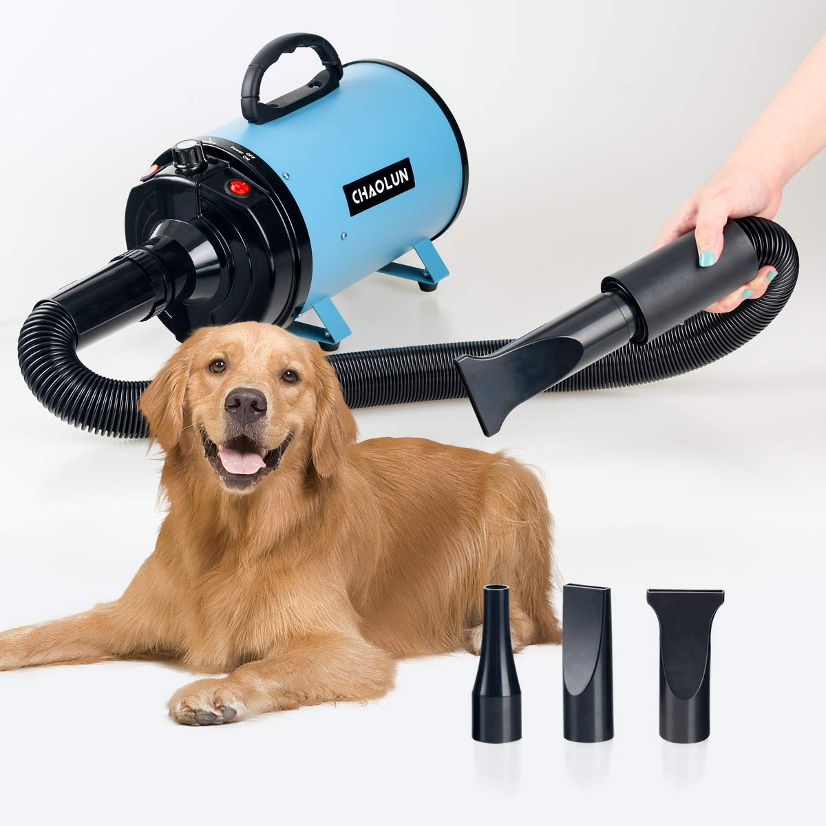 CHAOLUN High Velocity Pet Hair Dryer - Blower Grooming Dryer with Heater Dogs & Cats, 3.2HP 2400W Powerful Blow Force, Stepless Adjustable Speed, Reduce Noise, Heat Insulation, Sky
