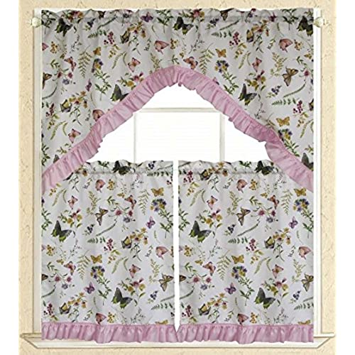 Elegance Linen Embroidered 3-Piece Kitchen Curtain Window Treatment Set -  2-Tiers : 30