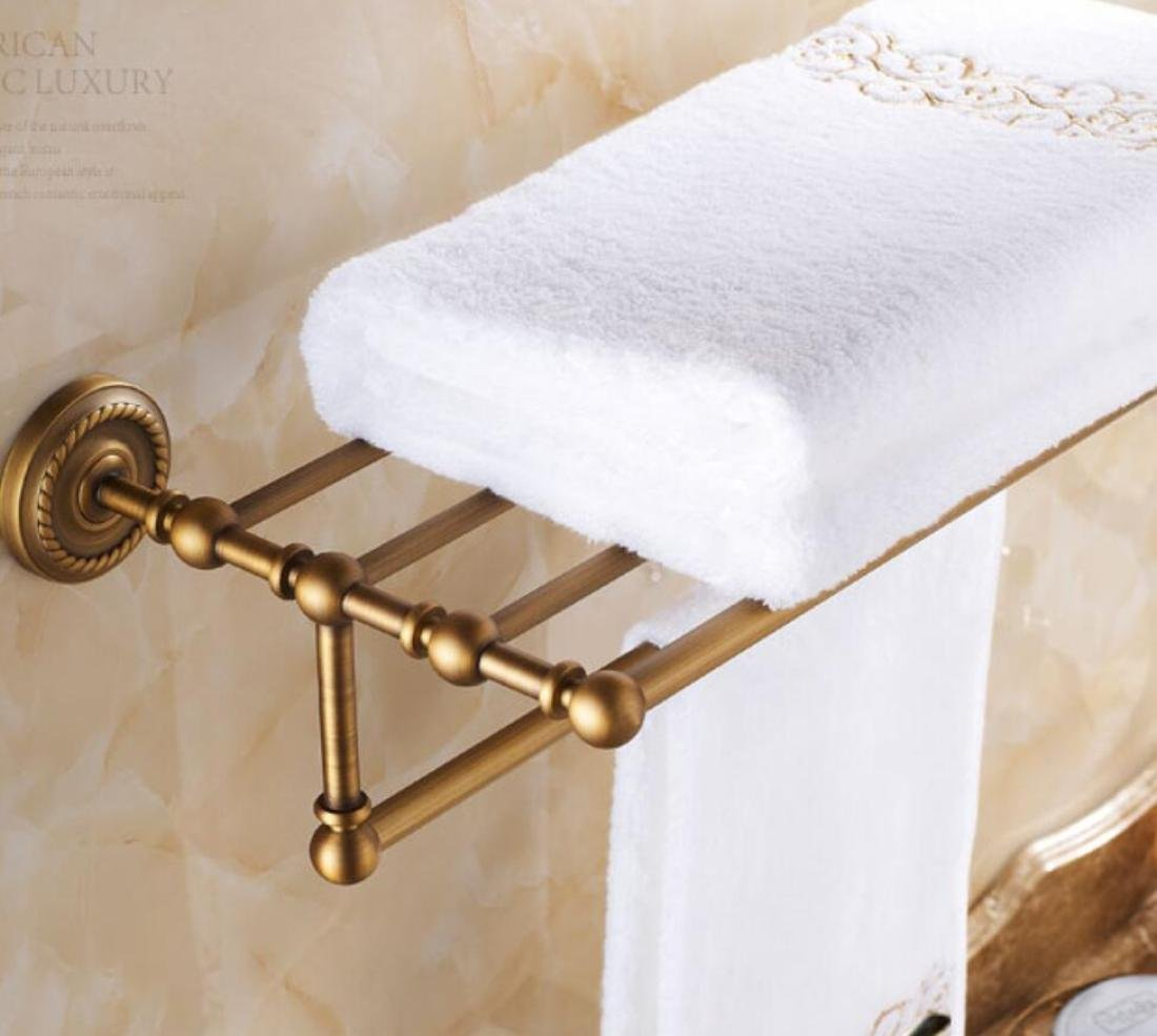GL&G European retro Towel Holders Gold luxury Wall-Mounted Towel Racks for Bathroom Storage & Organization Shelf Home Decoration 62cm,B by GAOLIGUO (Image #5)