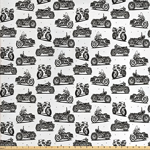 Ambesonne Motorcycle Fabric by The Yard, Retro Motorcycle Drawings of Old-Fashioned and Modern on White Background, Decorative Fabric for Upholstery and Home Accents, Grey White Black