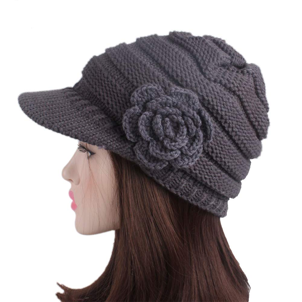 Lady French Beret Acrylic Wool Beret Floral Beanie Winter Hat with Visor