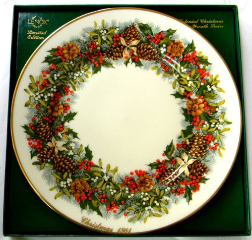(Lenox 1981 Colonial Christmas Wreath Plate Virginia the 1st Colony)