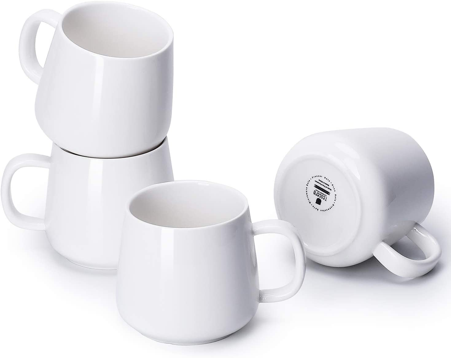 Teocera Porcelain Coffee Mugs, Coffee Cup Set - 12 Ounce for Tea, Cocoa, and Mulled Drinks - Set of 4, White