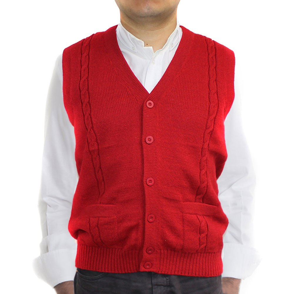 CELITAS DESIGN Alpaca Vest Sweater Jersey with BRIAD V Neck Buttons and Pockets Made in Peru RED XXL