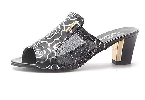 Sandali Pantofole Con Tacco Di Pelle Nero
