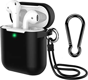 AirPods Case with Keychain, Coffea Silicone Protective Case with Stap for AirPods 2 & 1 [Front LED Visible] (Black)