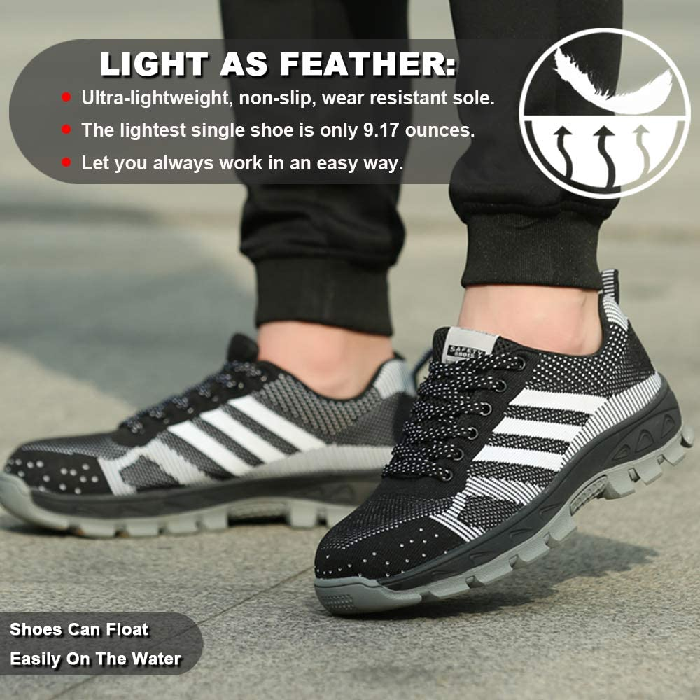 Safety Shoes Man Steel Toe Women Trainers Unisex Work Shoes Breathable Sport Lightweight Hiking Boots Trekking Shoes Industrial Sneakers Outdoor for Summer