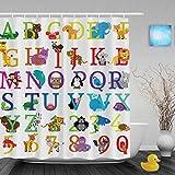 Cartoon Animals Alphabet Letters & Nunbers Kids Nursery Bathroom Shower Curtains Waterproof Mildew Polyester Fabric 66''x72''Inch