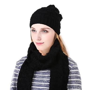 42d4c89f8e03 Vbiger Ensemble bonnet et écharpe en tricot d hiver pour hommes et femmes,  gris