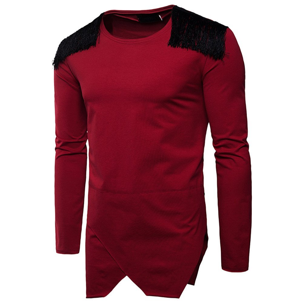 Men's Blouse-Clearance Sale!! Farjing Fashion Men's Autumn Pure Color Long Feather Sleeved Sweatshirts Top Blouse(L,Red)
