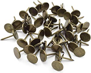 Flat Head Upholstery Tack, OZXNO 50 PCS Vintage Style Furniture Decoration Thumb Pushpins 11 x 17 mm Upholstery Nails - Bronze