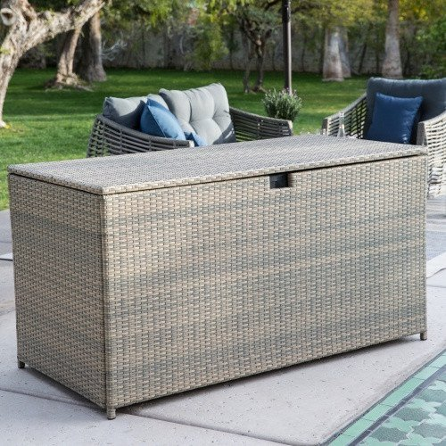 Multi-purpose Outdoor Deck Box/Storage Made with Powder-coated Aluminum Frames and Resin Wicker in Driftwood Finish