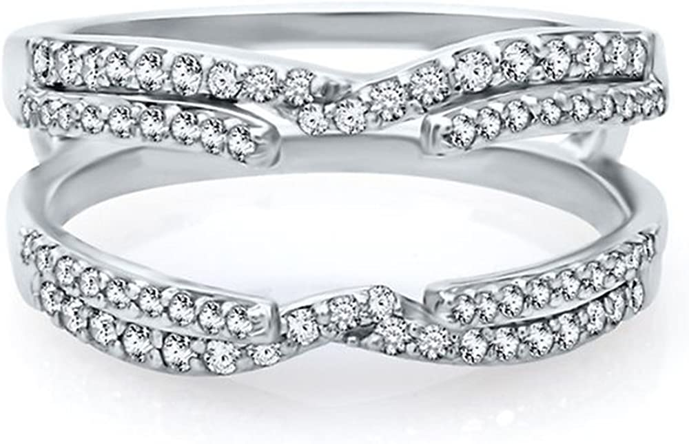 Jewelry Star 14k White Gold Plated in Alloy 1/2 ct Cubic Zirconia Engagement Enhancer Ring Guard Wrap