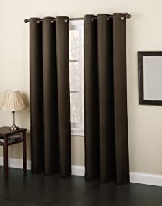 Gorgeous HomeDIFFERENT Solid Colors & Sizes (#92) 1 Panel Solid Foam Lined Blackout Heavy Thick Microfiber Window Curtain Drapes Grommets (Brown, 84