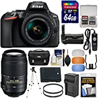 Nikon D5600 Wi-Fi Digital SLR Camera & 18-55mm VR DX AF-P + 55-300mm VR Lens + 64GB Card + Case + Battery & Charger + Grip + Tripod + Filters Kit