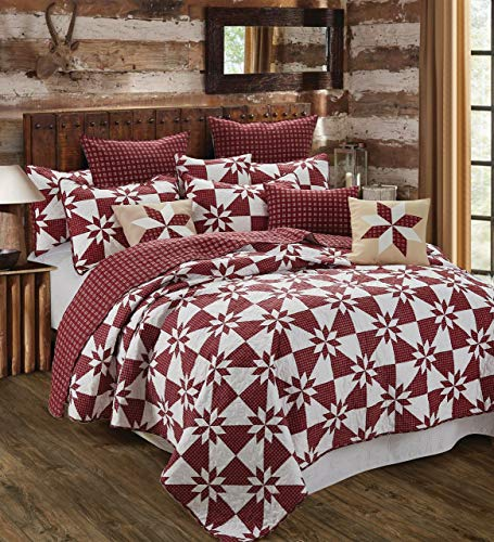 Virah Bella Hunters Star Country Farm House Style Reversible Printed Quilt Set (Red, King)